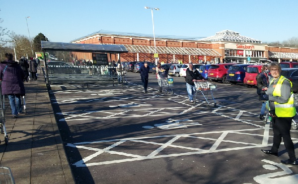 Long queues formed outside Sainsbury's this morning during the hour reserved for shopping by the elderly and vulnerable.