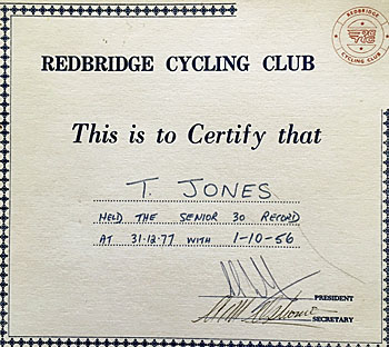 Breaking Club 30 mile record with Redbridge CC 1977