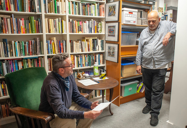 In his office in Rock House, Kim Stallwood meets with Jonathan Pledge, Curator of Politics and Public Life at The British Library. Photo credit: John Cole