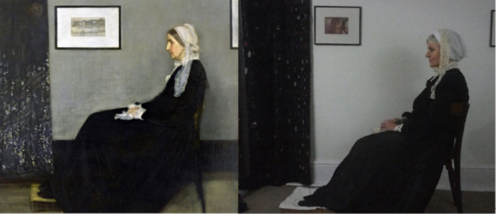 this image shows the painting Whistler's mother alongside a recretation of the painting by the author of this article.