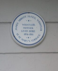 Plaque on the house in St Mary's Terrace, Hastings occupied by Anna McNeill Whistler from 1876-1881