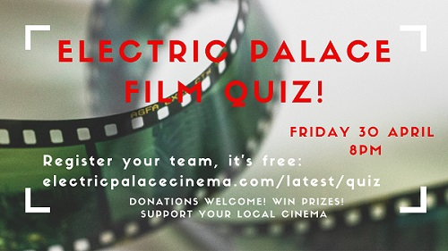 Film quiz poster showing film reel in a coil and details of film quiz embedded - details in main post