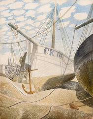 Mackerel Sky Eric Ravilious, not seen for 80 years and thought to be lost. as not seen snce it sold at auction in 1939 for 15 guineas.