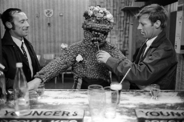 On the second Friday August The Burry Man, decorated in burrs walks the boundaris of south Queensferry, Lothian calling in pubs on his way.