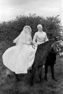 Prince Charming and his bride, Gawthorpe May Day, Gawthorpe, Yorkshire England 1974.