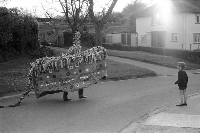 May Day at Dawn. The Minehead Hobby Horse, Somerset. 1971
