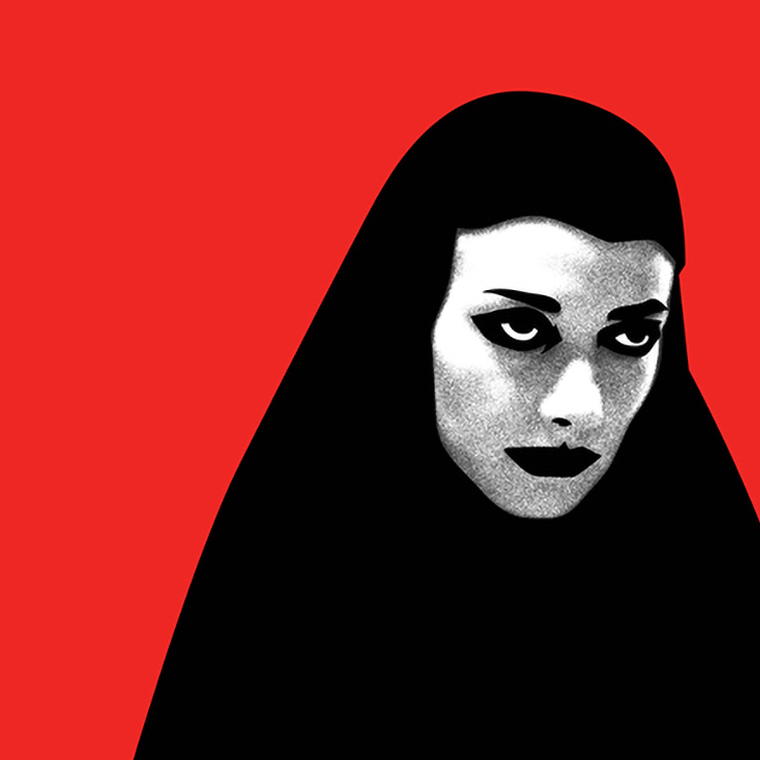 Woman with black headwear looking stern, with red background
